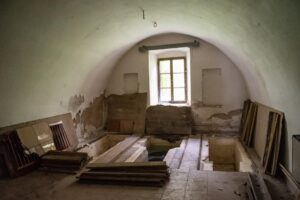 The inside of the house with its three mikvahs