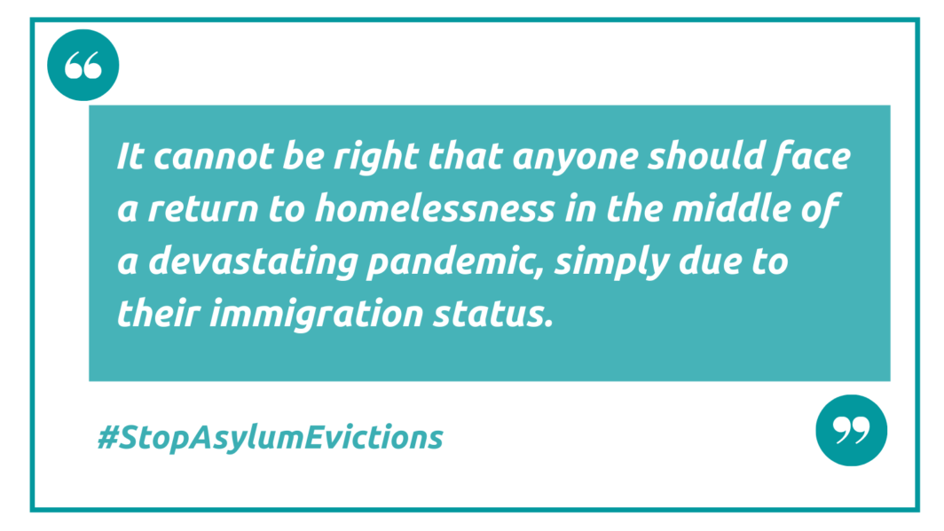 Halt asylum evictions letter and quote